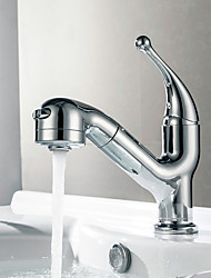 cheap -Modern/Contemporary Vessel Pullout Spray Ceramic Valve Chrome, Kitchen faucet