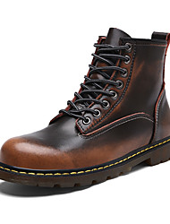 cheap -Men's Shoes Nappa Leather Fall Winter Bootie Combat Boots Boots Booties/Ankle Boots Lace-up For Casual Outdoor Red Brown Gray Black