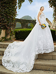 cheap -A-Line Sweetheart Neckline Cathedral Train Lace / Tulle Made-To-Measure Wedding Dresses with Beading / Sequin / Appliques by LAN TING