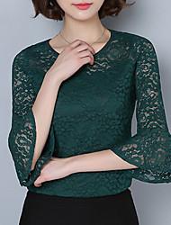 Tee-shirt Femme,Couleur Pleine Décontracté / Quotidien Sexy Eté Manches 3/4 Col Arrondi Polyester Moyen
