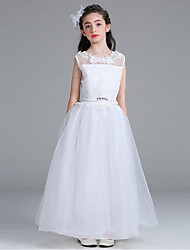 Ball Gown Ankle Length Flower Girl Dress - Organza Sleeveless Jewel Neck with Appliques Crystal Detailing Ruching by YDN