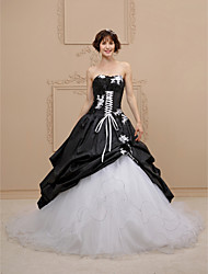 Ball Gown Sweetheart Chapel Train Lace Taffeta Tulle Wedding Dress with Appliques Pick Up Skirt by LAN TING BRIDE®