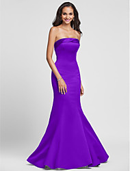 cheap -Product Sample Mermaid / Trumpet Strapless Floor Length Satin Bridesmaid Dress with Bandage by LAN TING BRIDE®