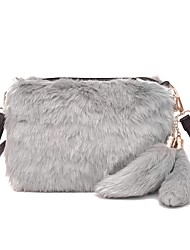 cheap -Women Bags Fur Crossbody Bag Zipper for Casual Outdoor All Seasons Gray Fuchsia Brown Black/White Khaki