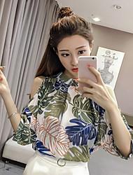 Blusa Da donna Casual Semplice Fantasia floreale Colletto alla coreana Cotone Mezza manica