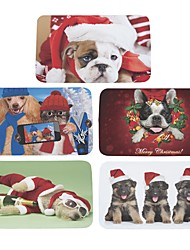 Set of 5 Welcome Floor Mats  Christmas Cute Dog  Printing Bathroom Kitchen Carpets House Doormats for Living Room Anti-Slip Tapete Rug W16 x L24 inch