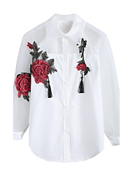 cheap -Women's Daily Casual Shirt,Embroidery Shirt Collar Long Sleeves Cotton