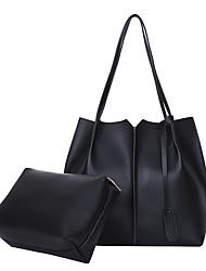 baratos -Mulheres Bolsas PU Conjuntos de saco 2 Pcs Purse Set Ziper para Compras Bege / Marron / Khaki