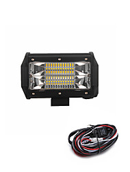 72W 7200LM 6000K 3-Rows LED Work Light Cool White Flood Offroad Driving Light for Car/Boat/Headlight IP68 9-32V DC  2m 1-To-1 Wiring Harness Kit