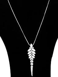 Недорогие -Жен. В форме листа Пряди Ожерелья Слоистые ожерелья Кристалл Сплав Пряди Ожерелья Слоистые ожерелья , Для вечеринок Повседневные