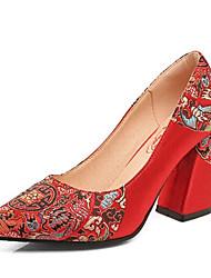 preiswerte -Damen Schuhe Echtes Leder PU Frühling Herbst Pumps High Heels Stöckelabsatz für Normal Rot
