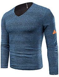 cheap -Men's Daily Weekend Casual Solid Striped Round Neck Plus Size Sweater Pullover, Long Sleeves Spring Fall Polyester