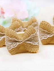 economico -Ricevimento di nozze in piedi in stile porta carte da sposa in legno di lino