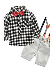 preiswerte -Mädchen Kleidungs Set Schachbrett Baumwolle Frühling Herbst Langarm Kariert Blau Weiß Rote