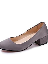 Damen Schuhe PU Frühling Sommer Komfort Pumps High Heels Blockabsatz Runde Zehe Für Kleid Party & Festivität Schwarz Grau Rot