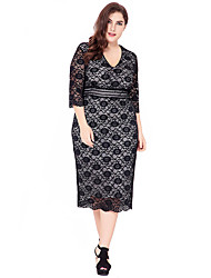 Women's Party Plus Size Going out Casual/Daily Vintage Simple Sophisticated Bodycon Sheath Lace Dress,Solid Jacquard V Neck Knee-length