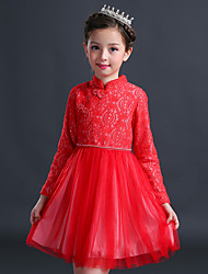 Girl's Birthday Going out Solid Floral Dress,Cotton Polyester Winter Fall Long Sleeve Red Blushing Pink Gray