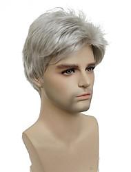 abordables -Perruque Synthétique Cheveux Synthétiques Blanc Perruque Homme Court Sans bonnet Argent