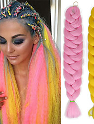 "cheap -3 Pieces Jumbo Hair Braid 100% Kanekalon Hair Medium Brown Auburn Yellow Green Blue 41"" 3 Pieces Braiding Hair Hair Extensions"