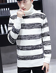 Standard Pullover Da uomo-Casual A strisce A collo alto Manica lunga Poliestere Autunno Medio spessore Media elasticità