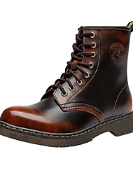 cheap -Men's Shoes Leather Winter Fall Combat Boots Bootie Fashion Boots Novelty Comfort Boots Booties/Ankle Boots Split Joint Lace-up for
