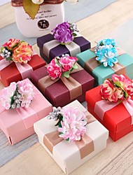 cheap -Cubic Pearl Paper Favor Holder with Flower Favor Boxes