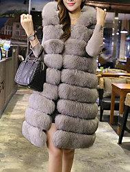 Women's Daily Going out Street chic Winter Fur Coat,Solid Hooded Long Sleeve Long Faux Fur Fox Fur