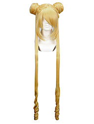 abordables -Pelucas de Cosplay Sailor Moon Sailor Moon Dorado Largo Animé Pelucas de Cosplay 100 CM Fibra resistente al calor Mujer