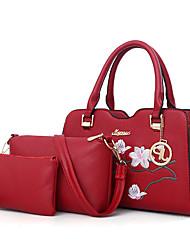abordables -Femme Sacs Polyuréthane Ensembles de Sac Ensemble de 3 pcs Broderie pour Shopping Décontracté Toute Saison Noir Rouge Rose Claire Gris