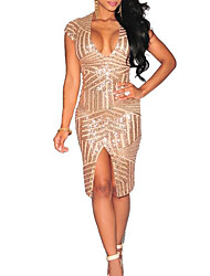 cheap -Women's Holiday Bodycon Dress - Solid Colored V Neck
