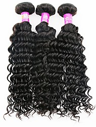 cheap -3 Bundles 300g/Lot Brazilian Deep Wave Virgin Hair Natural Color Remy Human Hair Weave Bundles Tangle Free And No Shedding