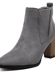 baratos -Mulheres Sapatos Flocagem / Courino Outono / Inverno Forro de fluff / Coturnos / Botas da Moda Botas Salto Robusto Dedo Apontado Botas