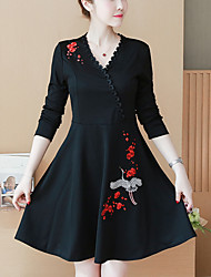 cheap -Women's Plus Size Going out Cute Street chic A Line Little Black Dress,Embroidered V Neck Above Knee Long Sleeves Polyester Nylon Spandex