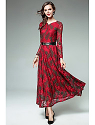 cheap -Women's Party Daily Casual Street chic Sheath Lace Swing Dress,Jacquard V Neck Maxi Long Sleeves Polyester Winter Fall Mid Rise Inelastic