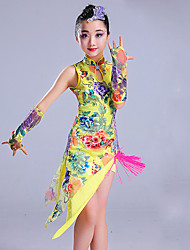 cheap -Latin Dance Outfits Performance Spandex Pattern / Print Sleeveless High Dress Sleeves Headwear Shorts