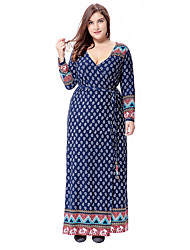 cheap -Women's Party Daily Going out Plus Size Vintage Boho Sophisticated Loose Sheath Swing Dress,Polka Dot Geometric Paisley V Neck Maxi Long