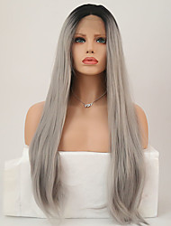 cheap -Synthetic Lace Front Wig Straight Synthetic Hair Middle Part Sew in Gray Wig Women's Long Natural Wigs Lace Front