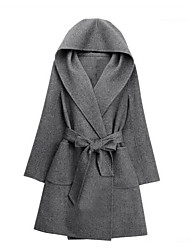 cheap -Women's Going out Work Vintage Sophisticated Winter Fall Coat,Solid Hooded Regular Wool Others