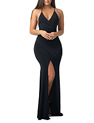cheap -Women's Beach Sheath Swing Dress - Solid Colored, Backless Criss-Cross Split High Rise Maxi Strap