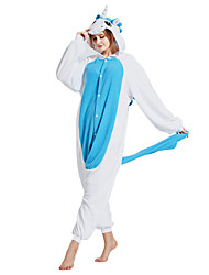 kigurumi Pyjamas Unicorn Costume Bleu Polaire Kigurumi Collant / Combinaison Cosplay Fête / Célébration Pyjamas Animale Halloween Mosaïque