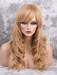 Women Human Hair Capless Wigs Honey Blonde Black Long Wavy Side Part
