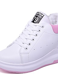 cheap -Women's Shoes PU Fall Winter Fur Lining Fluff Lining Comfort Sneakers Track & Field Shoes Closed Toe For Outdoor Black/White Pink/White