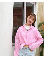 cheap -Women's Daily Casual Shirt,Striped Stand Long Sleeves Cotton Linen