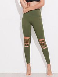 Damen Solide Genähte Spitzen Einfarbig Legging
