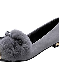 cheap -Women's Shoes Flocking PU Fall Comfort Flats Low Heel Round Toe Bowknot For Casual Green Gray Black
