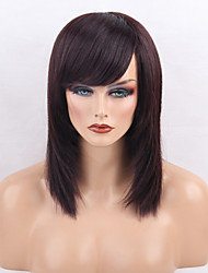 cheap -Women Human Hair Capless Wigs Dark Brown/Dark Auburn Black Medium Length Natural Wave Side Part