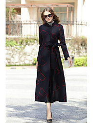 cheap -Women's Work Vintage Wool Coat - Geometric, Formal Style Vintage Style Shirt Collar