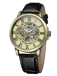 baratos -FORSINING Homens Relógio de Pulso Relógio Casual / Legal Couro Banda Casual / Fashion Preta / Automático - da corda automáticamente