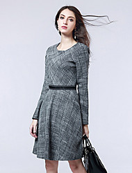 cheap -Women's Cotton Daily Wear Loose Dress,Striped Round Neck Knee-length Long Sleeve Polyester Fall High Waist Stretchy Thick
