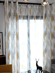 Pencil Pleat Double Pleat Grommet Top Curtain Contemporary Casual , Floral Geometric Dining Room Polyester Material Curtains Drapes Home